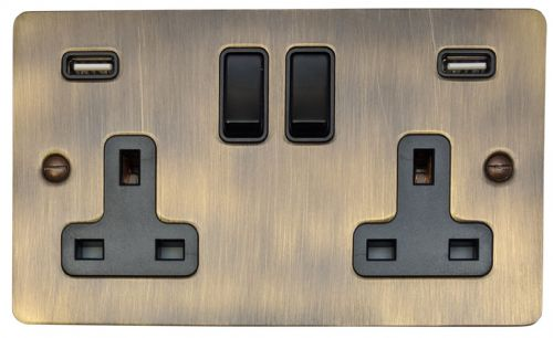 G&H FAB910B Flat Plate Antique Bronze 2 Gang Double 13A Switched Plug Socket 2.1A USB